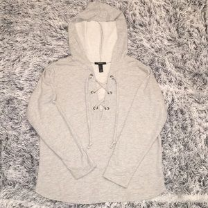 F21 Lace Up Hooded Sweatshirt